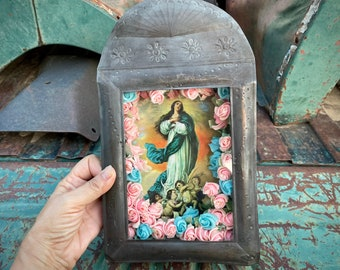 Vintage Mexican Tin Shrine Shadowbox Wall Hanging with Madonna Print and Tissue Paper Flowers