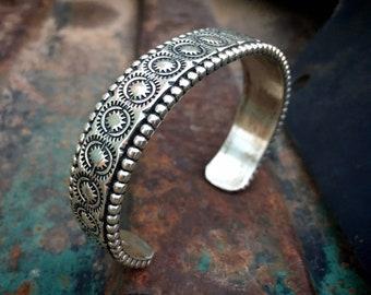 Navajo Johnathan Nez Heavy Stamped Sterling Silver Cuff Bracelet Men Women, Native America Jewelry, Father's Day Gift Husband Boyfriend Dad