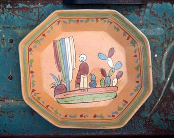 Old Mexican Pottery Rectangular Dish Shelf Display, Tlaquepaque Pottery Cactus Folk Art Pottery