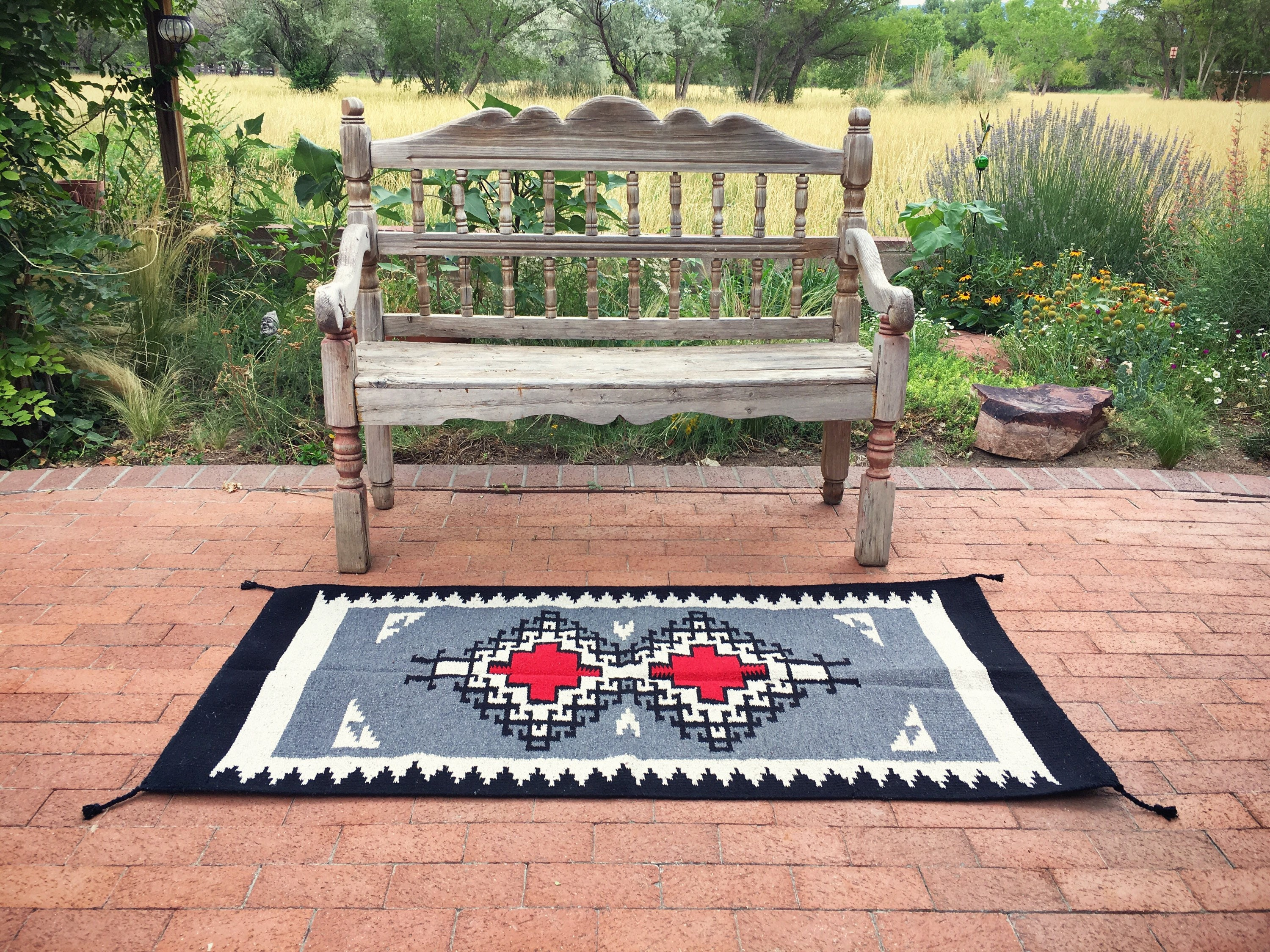Vintage 31 X 63 Zapotec Rug Gray Red Mexican Rug Woven