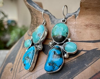 Blue and Green Turquoise Stone Earrings by Navajo Mary Jane Garcia, Native America Indian Jewelry