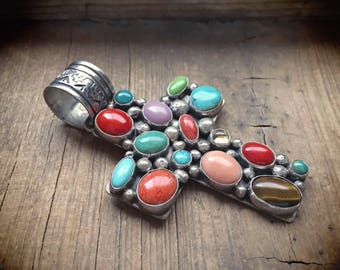Large Native American cross pendent sterling silver turquoise multi stone Navajo Philbert Secatero