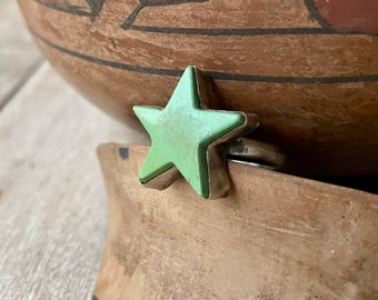 Rough Star Shaped Turquoise Ring for Women or Men Adjustable Size, Navajo Indian Jewelry