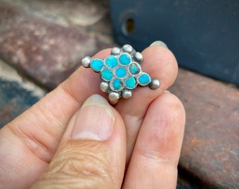 1960s Dainty Turquoise Ring Size 5 Zuni Dishta Style Channel Inlay, Vintage Native American Jewelry