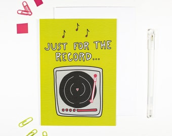 Record player card etsy just for the record card vinyl lovers record player m4hsunfo