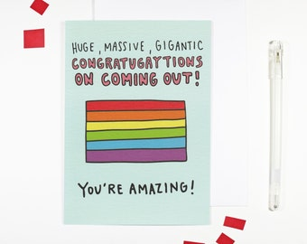 Congratugaytions on Coming Out Card LGBT Pride Gay Pride