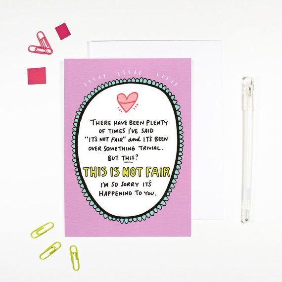 This Is Not Fair Card For Hard Times Diagnosis Illness Mental Etsy