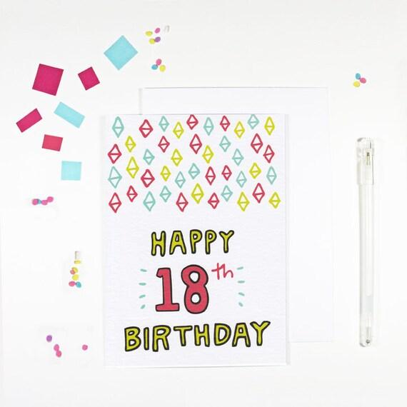 Geburtstagskarte Text 18.Glucklich 18 Geburtstagskarte Helle Geburtstagskarte Achtzehnten Geburtstagskarte