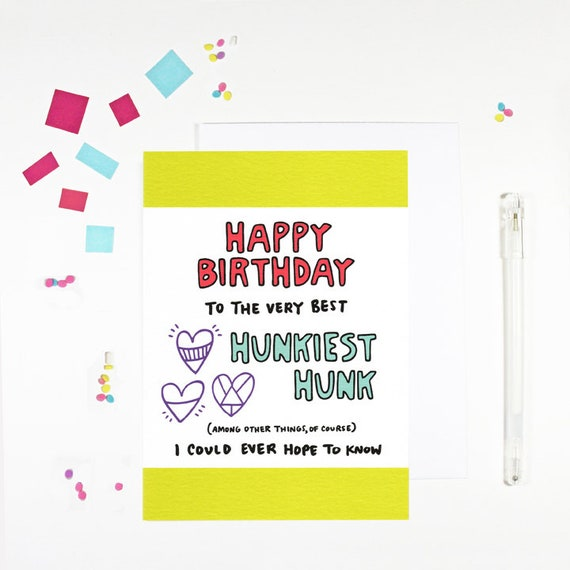 Happy Birthday Hunk Birthday Card For Boyfriend Birthday Card Etsy