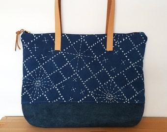 Organic Zippered Shoulder Bag with Sashiko Pattern in Indigo