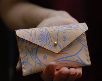 Small Leather Change Purse in Birds Print