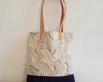 Organic Waves Pattern Tote with Natural Leather Shoulder Strap
