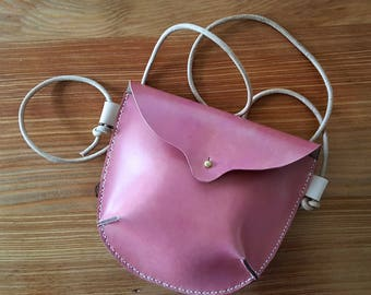 IMMEDIATE SHIP Hand Stitched Leather Small Crossbody Bag in Quebracho