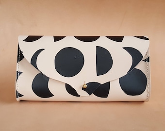 Hand Stitched Leather Clutch in New Moon