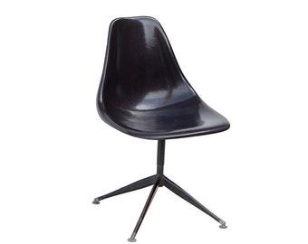 Black Fiberglass Eames Style Swivel Side Shell Chair With Pyramidal Base    Likely Burke Or Krueger
