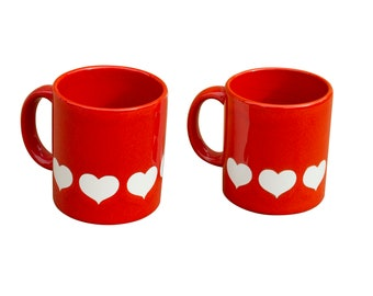 set of 2 vintage heart mugs waechtersbach w germany valentines day
