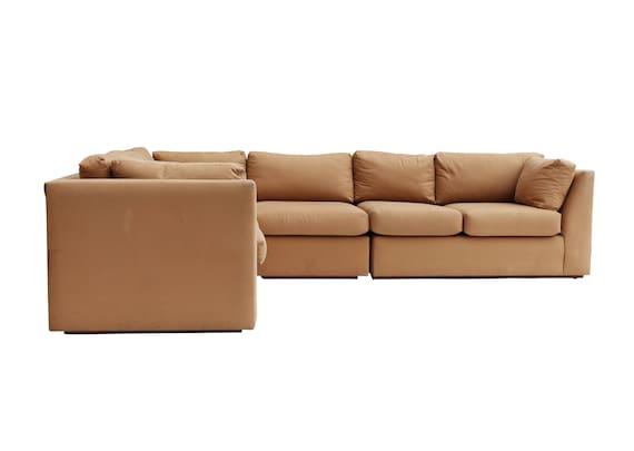 promo code e49a3 c5e7f Vintage Modern Khaki Cotton Sectional Sofa in 3 Pieces- Midcentury w Oak  Plinth base