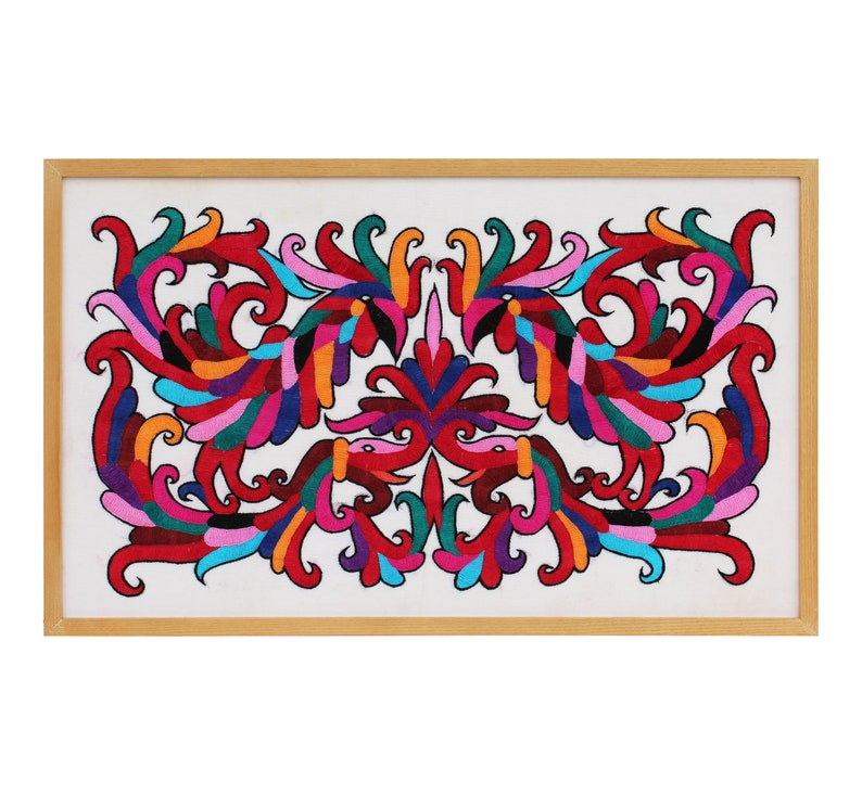 Vibrant Mexican Otomi Style Embroidery Panel Framed in Oak image 0