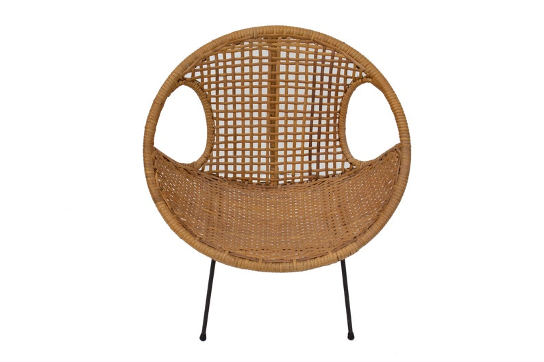 Rattan Childu0027s Chair With Iron Legs Cane Rattan Caning Seat Umanoff McCobb  Style Kids Furniture