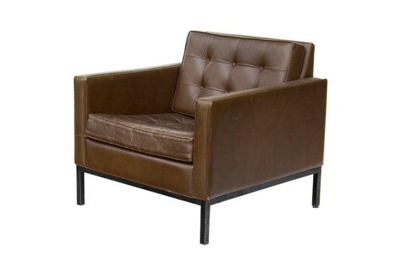 Astonishing Florence Knoll Or Steelcase Tufted Genuine Leather Club Chair Midcentury Modern Spiritservingveterans Wood Chair Design Ideas Spiritservingveteransorg