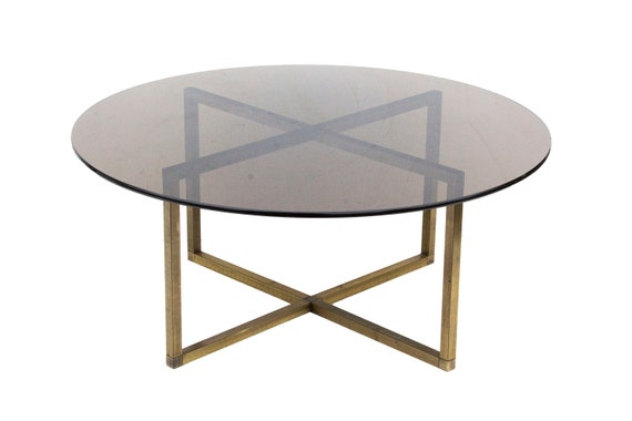Round Brass Coffee Table With X Base And Smoked Glass Top Widdicomb Mastercraft 42 Dia X 18 H