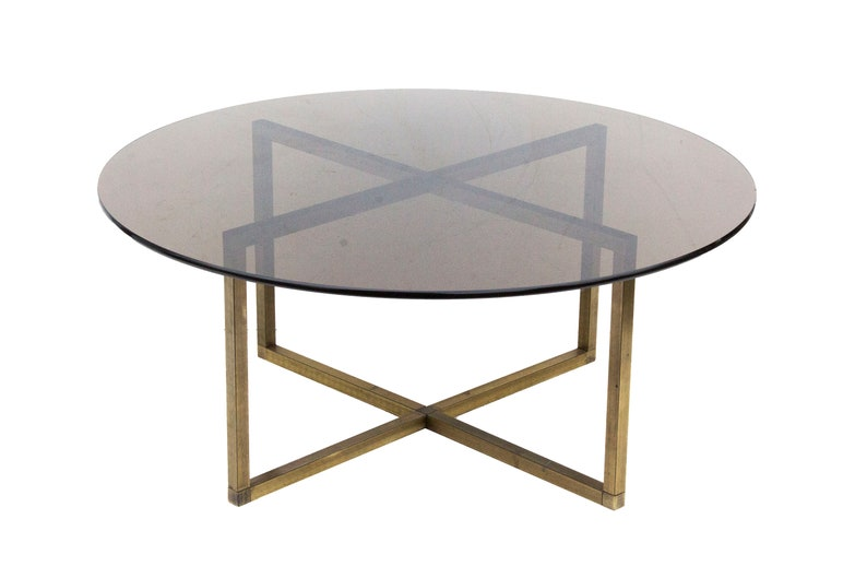 Round Brass Coffee Table With X Base And Smoked Glass Top Etsy