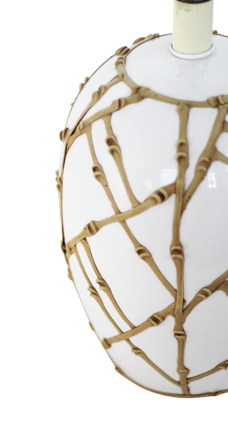 White Ceramic Table Lamp w Faux Bamboo Overlay Dorothy Draper Carleton Varney Hollywood Regency
