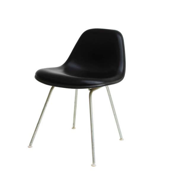 Herman Miller Eames La Fonda Side Chair in Black Vinyl Girard Naugahyde  lafonda La Fonda del sol