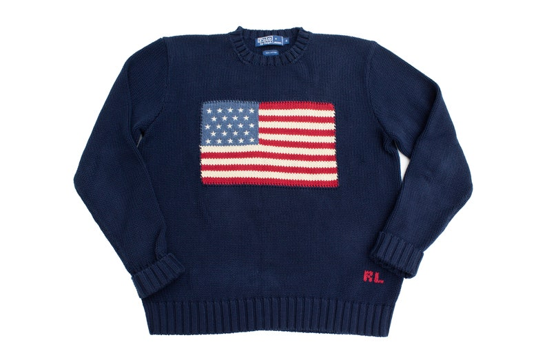 33de721fdffcb Vintage RALPH LAUREN American Flag Cotton Knit Sweater Size S