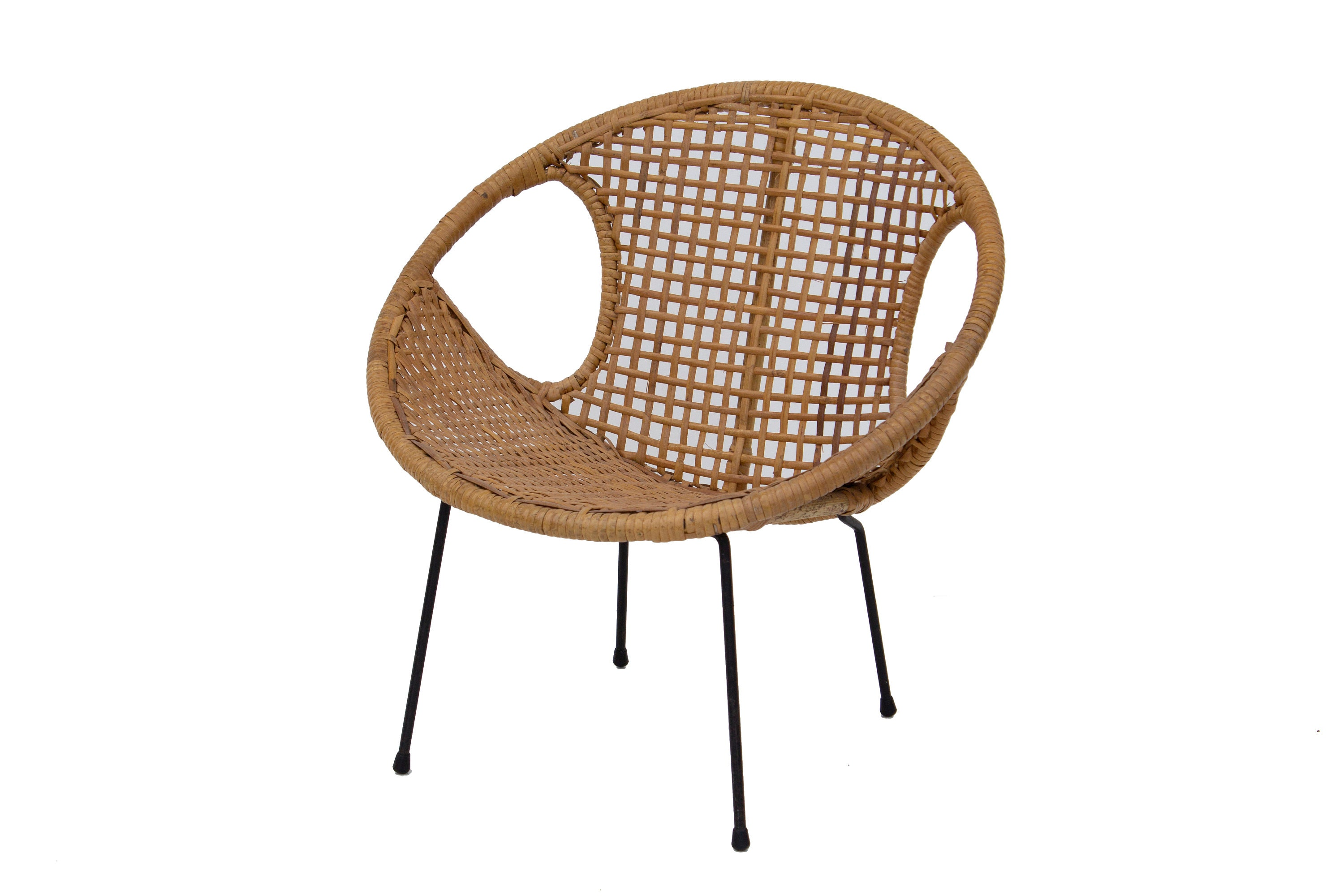 Delicieux Rattan Childu0027s Chair With Iron Legs Cane Rattan Caning Seat Umanoff McCobb  Style Kids Furniture