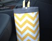 Car Trash Bag CHEVRON YELLOW, Women, Men, Car Litter Bag, Auto Accessories, Auto Bag, Car Organizer
