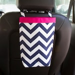 Sale 50% Off Car Trash Bag NAVY CHEVRON for Men and Women, Car Litter Bag, Auto Accessories, Auto Bag, Trash Bag, Car Catch All
