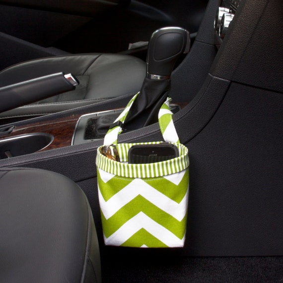 Sale 50% Off CAR CELLPHONE CADDY, Lime Green Chevron, Cell Phone Holder, Sunglasses Case, Mobile Accessories, Golf Gift, Beach Chair Holder
