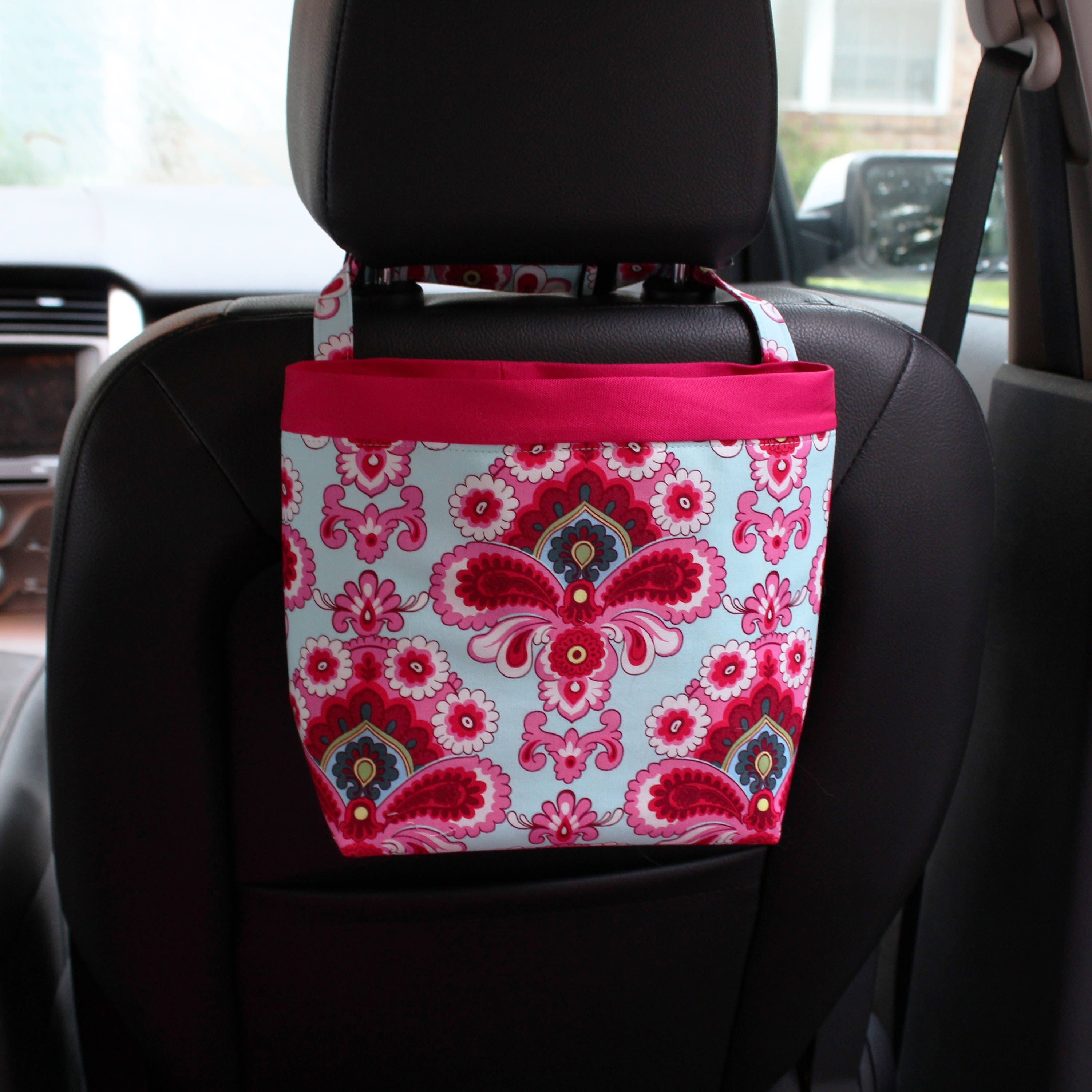 Headrest Caddy In Amy Butler French Wallpaper Duck Egg Blue Etsy