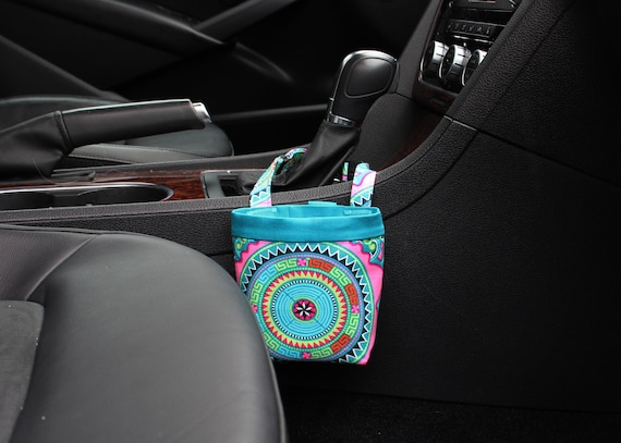 CAR CELLPHONE CADDY, Amy Butler Dream Weaver Teal, Cell Phone Holder, Mobile Accessories, Smartphone Case, Sunglasses Case, Golf Cart Holder
