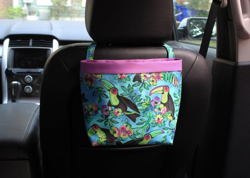 Headrest CADDY Toucans in Blue Women Car Litter Bag Auto image 0