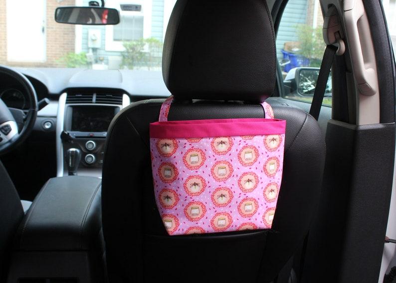 Headrest CADDY Fire Flies PINK  Women Car Litter Bag Auto image 0