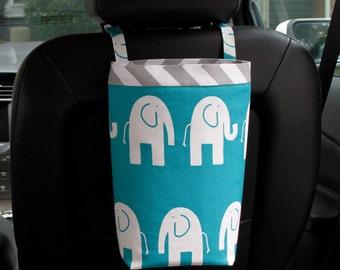 Car Trash Bag ELEPHANTS Turquoise and White, Women, Car Litter Bag, Car Accessories, Car Caddy, Car Trash Bag