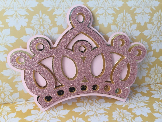 Princess Crown Invitations 25 Pink And Gold Princess Crown Etsy