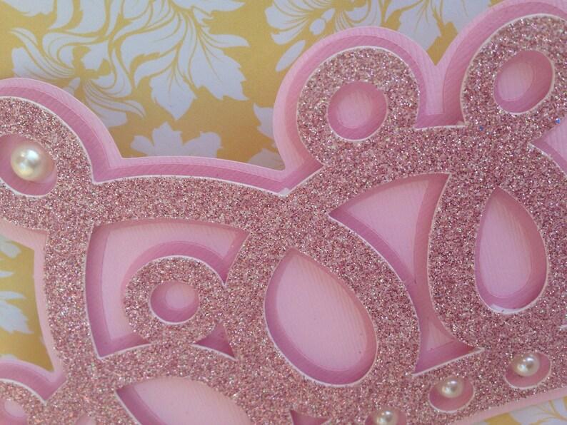 new invitations 25 glittered princess Crown Crown Invitation with pearls Princess Crown invitations
