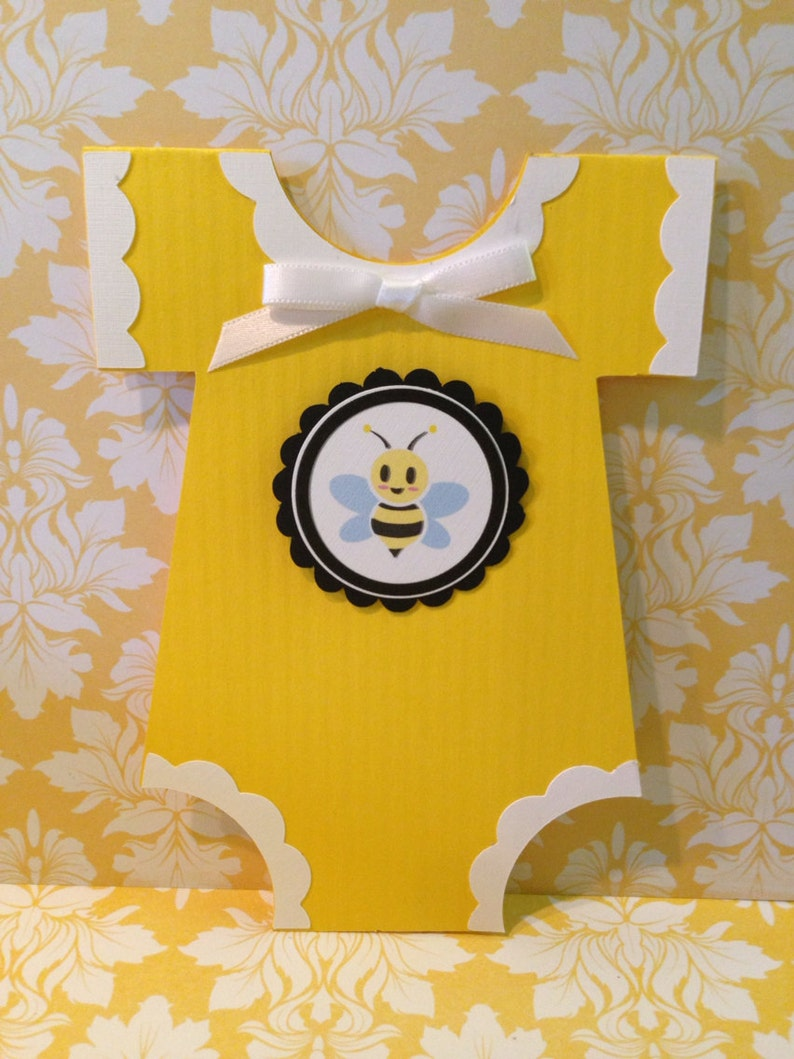 58fa7b1e1 Baby Shower Onesie Invitation 25 Yellow with Bumble Bee | Etsy