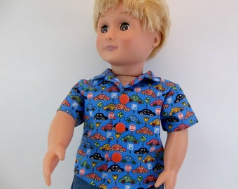 18 inch Boy Doll  Cotton Shirt Blue with Cars Fits American Girl Doll Clothing Toys