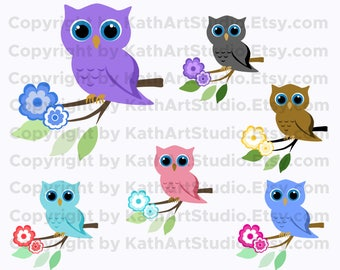 Instant Download - Owls on a Branch Clip Art Set - Personal and Commercial Use 106