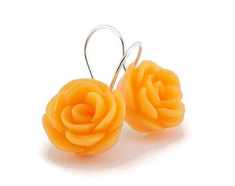 Orange Earrings, Drop Earrings, Little Gift Ideas, Earrings for Women Teens Teenagers, Pastel Orange, Spring Summer Earrings, Rose Flower