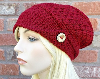 Deep Red Hat, Slouchy Beanie, Slouchy Hat, Red Beanie, Red Hat, Winter Hat, Hat with Buttons, Cute Hats, Crochet Hat, Knit Hat