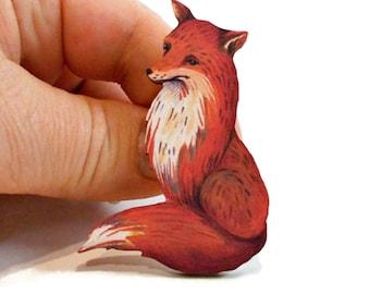 Wooden Fox Brooch, Red Fox Pin, Jacket Pins, Backpack Pins, Scarf Pin, Animal Brooch, Animal Pins, Brooch Pin, Animal Lover Gift for Teen