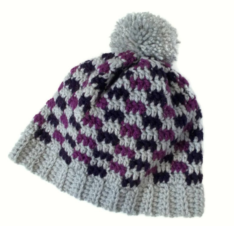 Plaid Beanie Purple and Gray Pom Pom Hat Cute Beanie Teen  50f6d15f76a