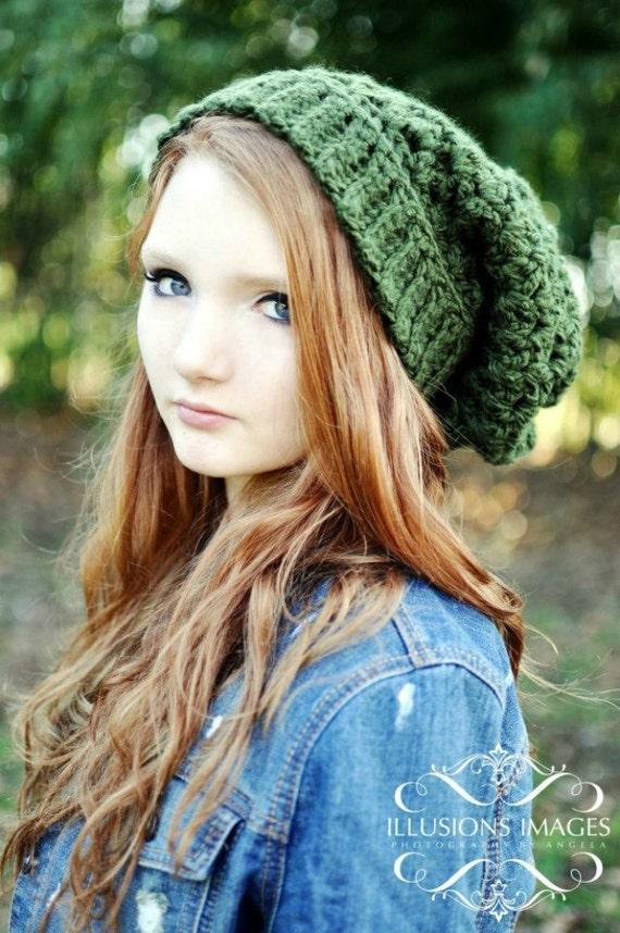 Dunkle Grüne Mütze Häkeln Oversize Beanie Mütze Für Frauen Etsy