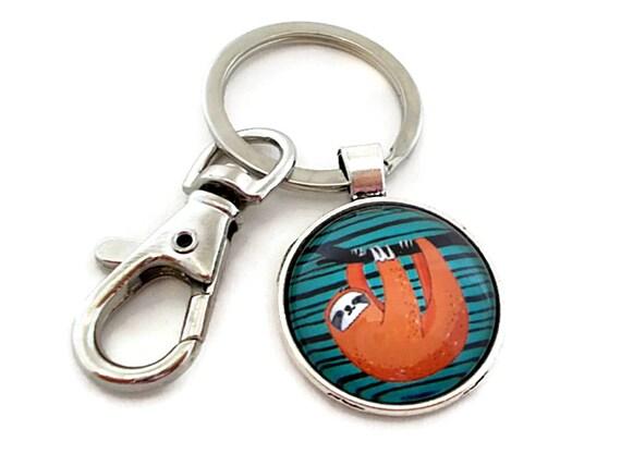 paresseux mignon porte cl porte cl animal orange et bleu etsy. Black Bedroom Furniture Sets. Home Design Ideas