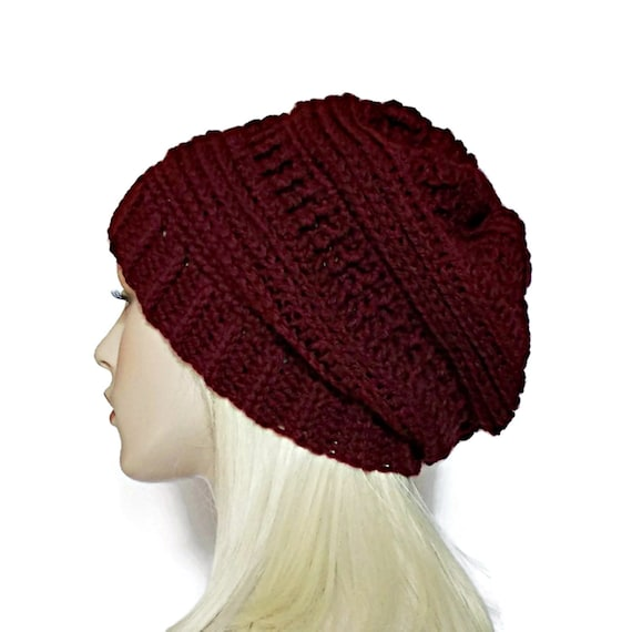 Burgundy Hat Slouchy Beanie Crochet Hat for Women Teens  92fe7fd3b31